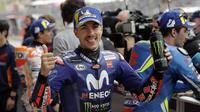 Pembalap Movistar Yamaha, Maverick Vinales akan memulai balapan MotoGP Austin 2018 di Circuit of the Americas (COTA) dari posisi terdepan. (AP Photo/Eric Gay)
