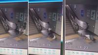 Detik mendebarkan wanita terjatuh ke lubang sebelum naik eskalator di Stasiun Shenzen, tenggara China. (Pear Video)