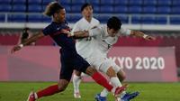 Timnas Prancis takluk empat gol tanpa balas dari Jepang pada laga terakhir Grup A cabang olahraga sepak bola Olimpiade Tokyo 2020 di International Stadium Yokohama, Rabu (28/7/2021) malam WIB. (AP Photo/Kiichiro Sato)