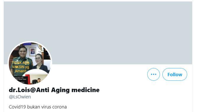 Di akun Twitter pribadinya, dr Lois Owien menulis bahwa COVID-19 bukan Virus Corona.
