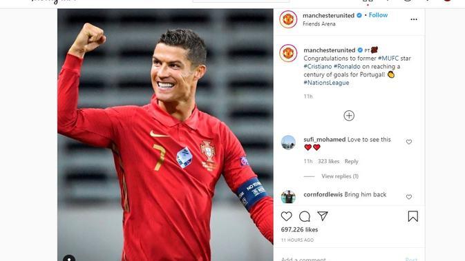 Cristiano Ronaldo mendapat ucapan selamat dari Manchester United (MU) (Instagram)