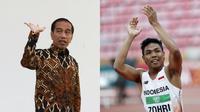 Jokowi bertemu sang juara Lalu Zohri. (AFP)