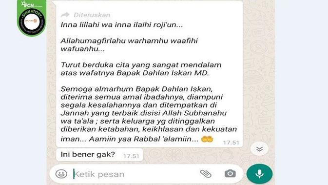 Gambar Tangkapan Layar Pesan Berantai di Aplikasi WhatsApp