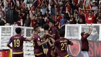 Skuat PSM selebrasi setelah menjebol gawang Shan United dalam laga kedua Grup H Piala AFC 2020 di Stadion Madya, Jakarta (26/2/2020). (Bola.com/Yoppy Renato)