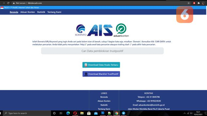 Kemkominfo blokir situs TikTok Cash. (Doc: Liputan6.com)