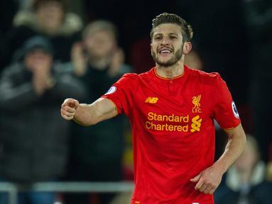 Adam Lallana menempati peringkat kelima top scorer sementara Liverpool, Lallana telah mencetak tujuh gol bagi The Reds di semua level kompetisi yang diikuti timnya. (EPA/Peter Powell)