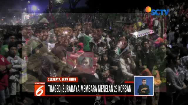 Panitia drama kolosal Surabaya Membara mengakui sudah berupaya bubarkan penonton yang memadati jembatan kereta.