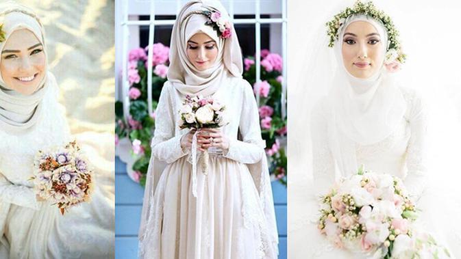 9 Inspirasi Mahkota Bunga Untuk Pernikahan Pengantin Berhijab
