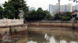 Ceceran sampah terlihat menggenang di Kali Krukut dekat TPU Karet Bivak Jakarta, Sabtu (5/11). Tampak warga menghabiskan waktu dengan memancing ikan di sisi Kali Krukut. (Liputan6.com/Helmi Fithriansyah)