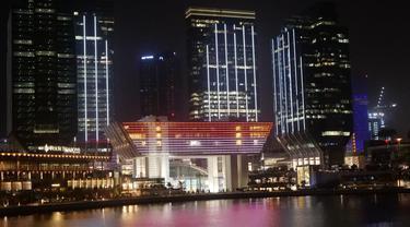 Visual bendera merah putih ditampilkan di kompleks eksibisi terbesar di ibu kota UEA, Abu Dhabi, pada Sabtu 17 Agustus 2019 (Liputam6.com/KBRI Abu Dhabi)