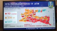 Peta persebaran Corona COVID-19 di Jawa Timur pada Minggu, 29 Maret 2020. (Foto: Liputan6.com/Dian Kurniawan)