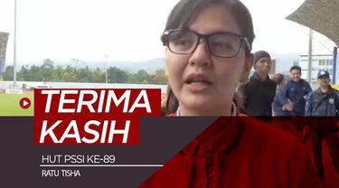 Berita video ucapan terima kasih Sekjen PSSI, Ratu Tisha, pada hari ulang tahun PSSI ke-89.