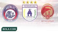 Logo ISL dan Liga 1 - Persipura, Arema, Sriwijaya FC (Bola.com/Adreanus Titus)