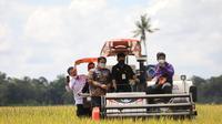 Menteri Pertanian Syahrul Yasin Limpo (Mentan SYL) melakukan panen raya padi di lahan seluas 1.000 hektar (ha) sekaligus melakukan gerakan serap gabah petani di Desa Je'netaesa, Kecamatan Simbang Kabupaten Maros, Sabtu (20/3/2021).