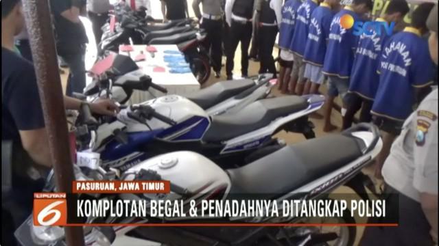 Polisi tangkap empat anggota komplotan begal dan seorang penadah barang curian di Pasuruan, Jawa Timur.