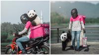 Aksi viral driver ojek online ini bawa panda di hari terakhirnya bekerja. (Sumber: siakapkeli)