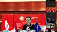 Menlu Retno dalam press briefing mengenai pertemuan virtual antara Menlu ASEAN-AS dengan awak media pada Kamis 23 April 2020.