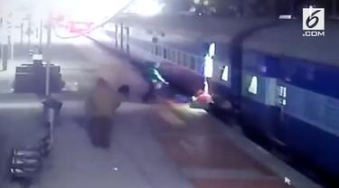 Seorang wanita terseret kereta yang melaju lantaran kain sari yang dipakainya tersangkut.