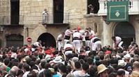 'Menara' manusia di Catalonia. (Ruptly)