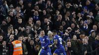 Eden Hazard merayakan gol semata wayang yang dicetak ke gawang Bournemouth.  (AP Photo/Alastair Grant)