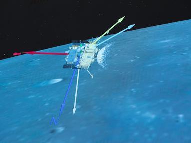 Foto yang diabadikan di Beijing Aerospace Control Center pada 1 Desember 2020 ini menunjukkan proses pendaratan Chang'e-5. Wahana antariksa Chang'e-5 China berhasil mendarat di sisi dekat Bulan pada Selasa (1/12) tengah malam dan mengirimkan kembali gambar ke Bumi. (Xinhua/Jin Liwang)