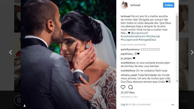 Lucas Moura dan istrinya, Larissa Saad