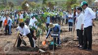 Presiden Jokowi didampingi Ibu Negara Iriana Widodo menyaksikan Menteri LHK Siti Nurbaya menanam pohon pada peringatan Hari Menanam Pohon Indonesia dan Bulan Menanam Pohon Nasional di Tahura Sultan Adam, Kalsel, Kamis (26/11). (Liputan6.com/Johan Tallo)