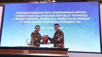 Tjahjo Kumolo lakukan penandatanganan Nota Kesepahaman Kemendagri dan BNPP dengan Bank Rakyat Indonesia (BRI)