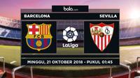 Jadwal La Liga 2018-2019 pekan ke-9, Barcelona vs Sevilla. (Bola.com/Dody Iryawan)