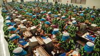 Sejumlah pekerja menyelesaikan proses pelintingan rokok di pabrik rokok PT. Djarum, Kudus, Jateng, Selasa (8/4). (ANTARA FOTO/Andreas Fitri Atmoko)