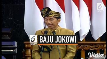 Presiden Jokowi memilih pakaian adatu suku Sasak, NTB saat menyampaikan pidato kenegaraan di tengah sidang MPR Ri 2019.