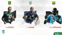 Persaingan Top Scorer Liga 1 Indonesia, David da Silva, Loris Arnaud, Ezechiel N'Douassel (Bola.com/Adreanus Titus)