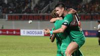 Penyerang anyar Bhayangkara FC, Ramiro Fergonzi, tak mampu menyembunyikan kebahagiaannya usah mencetak gol pertama di Indonesia. (dok. Bhayangkara FC)