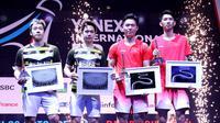 Ganda putra Indonesia, Kevin Sanjaya Sukamuljo/Marcus Fernaldi Gideon, kalah dari pasangan China,  Han Chengkai/Zhou Haodong, di final Prancis Terbuka 2018, Minggu (28/10/2018). (PBSI)