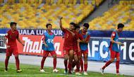 Pemain Timnas Indonesia U-16 rayakan kemenangan atas Iran pada laga Grup C Piala AFC U-16. (PSSI)