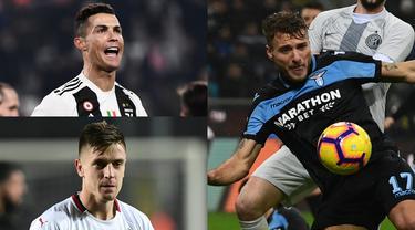 Penyerang anyar AC Milan, Krzysztof Piatek terus konsisten mencetak gol sejak kedatangan pemain 23 tahun tersebut ke San Siro. Tambahan dua gol ke gawang Atalanta membuanya menempel Cristiano Ronaldo di puncak. (Kolase Foto AFP)