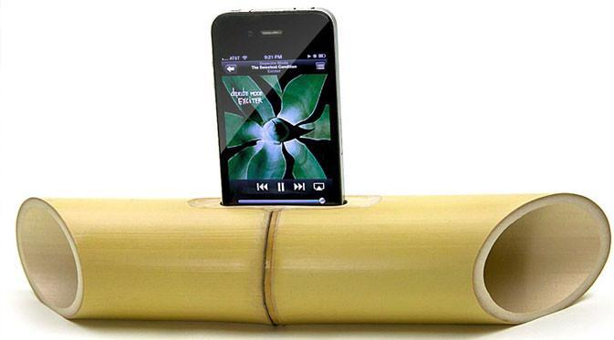 Batang bambu diubah menjadi speaker yang ramah lingkungan. (Doc: Petergreenberg)