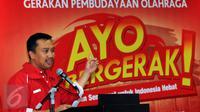 Menpora Imam Nahrawi memberikan sambutan jelang penandatanganan MoU program Ayo Bergerak!, di Kemenpora Jakarta, Jumat (27/11/2015). Program ni bertujuan mengajak masyarakat untuk rajin beraktivitas untuk kebugaran tubuh. (Liputan6.com/Helmi Fithriansyah)