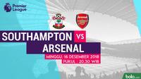 Jadwal Premier League 2018-2019 pekan ke-17, Southampton vs Arsenal. (Bola.com/Dody Iryawan)