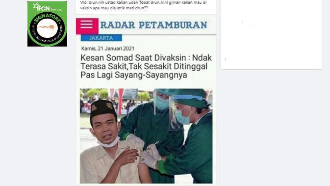 Cek Fakta Liputan6.com menelusuri klaim foto Ustaz Abdul Somad Divaksin