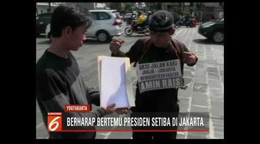 Seorang pemuda asal Blora, Jawa Tengah, gantikan nazar Amien Rais jalan kaki dari Yogyakarta ke Jakarta bila Jokowi terpilih kembali sebagai presiden.