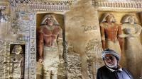 Pemakaman pribadi yang diperkirakan milik pejabat senior dinasti Firaun kelima, baru ditemukan di Giza pada 15 Desember 2018 (AP PHOTO)