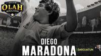 Diego Maradona, sang legenda dirindukan karena warna-warni kehidupan yang ditorehkannya saat berkarier di Italia dan timnas Argentina. (Bola.com/Adreanus Titus)