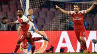 Arsenal meraih kemenangan 1-0 atas Napoli dalam laga leg kedua perempat final Liga Europa di Stadio San Paolo, Kamis (18/4/2019). (AFP/Andreas Solaro)