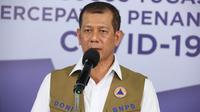 Di Graha BNPB, Jakarta, Senin (8/6/2020), Ketua Gugus Tugas Nasional Doni Monardo mengatakan, wilayah administratif setingkat kabupaten/kota yang masih bertahan di zona hijau berjumlah 92. (Dok Badan Nasional Penanggulangan Bencana/BNPB)