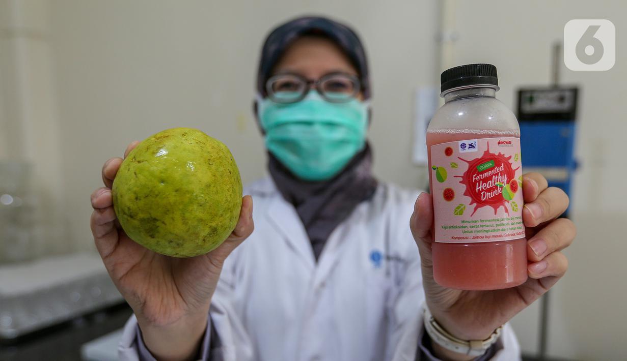 Peneliti menunjukkan buah jambu merah dan minuman jambu merah yang telah difermentasi di Kimia Pangan Pusat Penilitian Kimia LIPI Puspitek, Serpong, Tangerang, Kamis (4/6/2020). Proses fermentasi selama 2-7 hari cocok diminum yang imunitas rendah di masa pandemi Covid-19. (Liputan6.com/Fery Pradolo)
