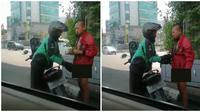 Aksi Driver Ojol Berikan Jaket Ke Orang Telanjang di Pinggir Jalan Ini Bikin Kagum (sumber:Twitter/@senengdipeluk)