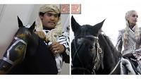 Cosplay low budget mirip Daenerys saat naik kuda (Sumber: boredpanda)