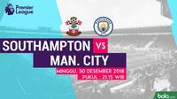 Jadwal Premier League 2018-2019 pekan ke-20, Southampton vs Manchester City. (Bola.com/Dody Iryawan)