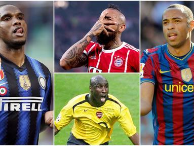 Berikut ini para pemain yang akhirnya termakan omongannya sendiri di Bursa Transfer. Diantaranya, Samuel Eto'o, Arturo Vidal dan Thierry Henry. (Foto Kolase AFP)